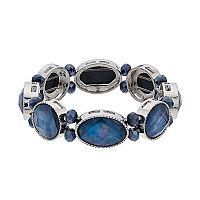 Blue Geometric Stretch Bracelet
