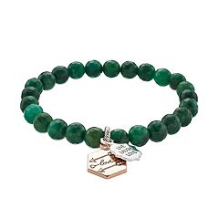love this life African Jade Bead 'Live Laugh Love' Arrow Charm Stretch Bracelet