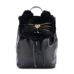 T-Shirt & Jeans Furry Cat Face Backpack