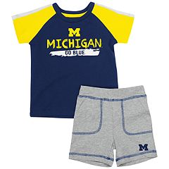 Baby Michigan Wolverines Tee & Shorts Set