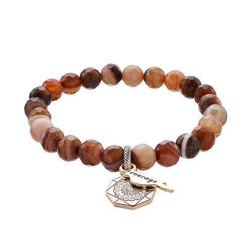 "love this life Botswana Agate Bead ""Courage"" Charm Stretch Bracelet"