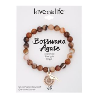 """love this life Botswana Agate Bead """"Courage"""" Charm Stretch Bracelet"""