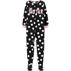 Girls 4-14 Carter's 'Best Sister' Polka-Dot Microfleece Footed Pajamas