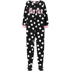 Girls 4-14 Carter's 'Best Sister' Polka-Dot Microfleece Footed Pajamas
