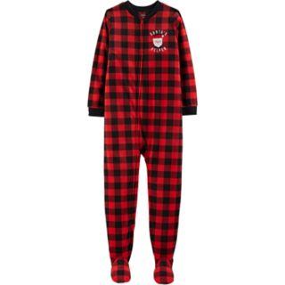 "Girls 4-14 Carter's ""Santa's Helper"" Christmas Microfleece Buffalo Plaid Footed Pajamas"