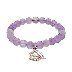 love this life Lab-Created Amethyst Bead 'Be-You-Tiful' Stretch Bracelet