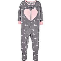 Baby Girl Carter's 'Love' Heart Microfleece Footed Pajamas