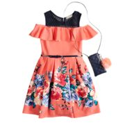 Girls 7-16 & Plus Size Knitworks Ruffle Cold Shoulder Belted Skater Dress with Necklace & Crossbody Purse