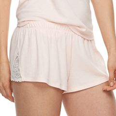Women's Apt. 9® Inset Lace Ribbed Pajama Shorts