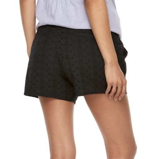 Maternity a:glow Embroidered Eyelet Full Belly Panel Shorts
