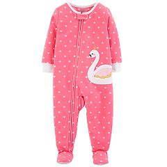 Toddler Girl Carter's Swan Heart-Dot Microfleece Footed Pajamas