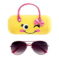 Girls 4-16 Aviator Sunglasses & Winking Face Case Set