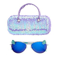 Girls 4-16 Aviator Sunglasses & Flip Sequin Case Set