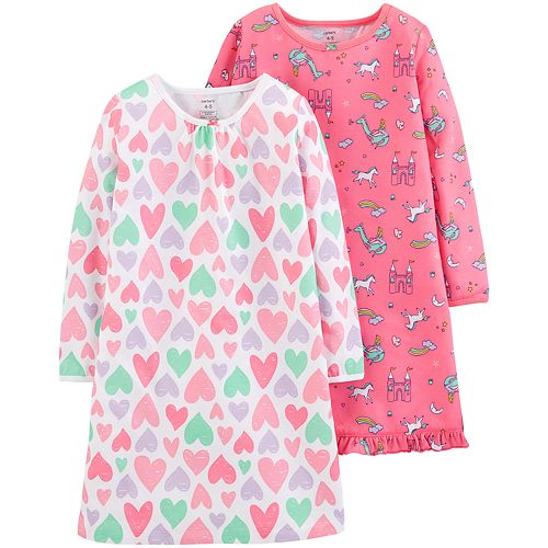 0a5e15089 New Carters Toddler Girl 2-Pack Unicorn Hearts Sleep Gowns size 3T ...