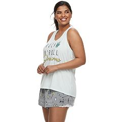 Plus Size SO® Graphic Tank & Shorts Pajama Set