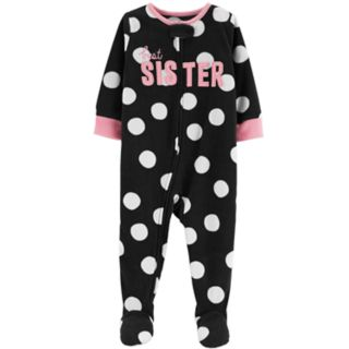 "Toddler Girl Carter's ""Best Sister"" Polka-Dot Microfleece Footed Pajamas"