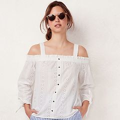Women's LC Lauren Conrad Eyelet Off-the-Shoulder Top