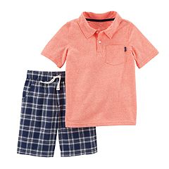 Boys 4-8 Carter's Solid Polo & Plaid Shorts Set