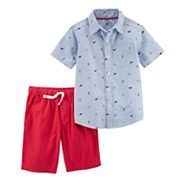 Boys 4-8 Carter's Whale Print Polo & Solid Shorts Set