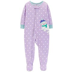 Toddler Girl Carter's Seal Heart-Dot Microfleece Footed Pajamas