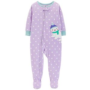 4fcff476da18 Toddler Girl Carter s Swan Heart-Dot Microfleece Footed Pajamas