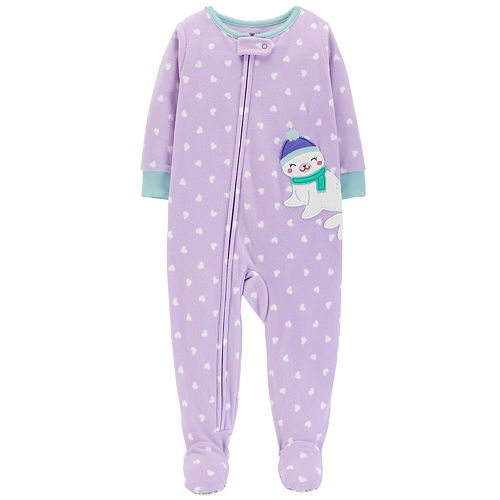 1aa2aa345 Toddler Girl Carter's Seal Heart-Dot Microfleece Footed Pajamas