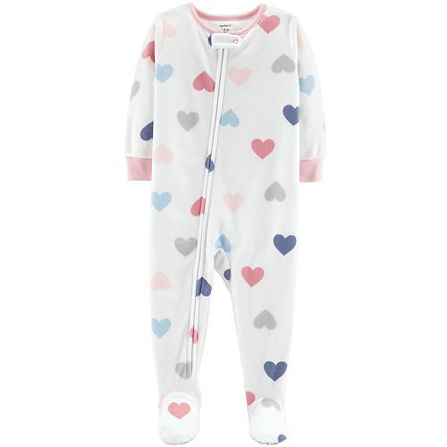 0e4d5bbd6 Toddler Girl Carter s Heart Print Microfleece Footed Pajamas