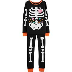 Girls 4-14 Carter's Glow-in-the-Dark Skeleton Top & Bottoms Pajama Set