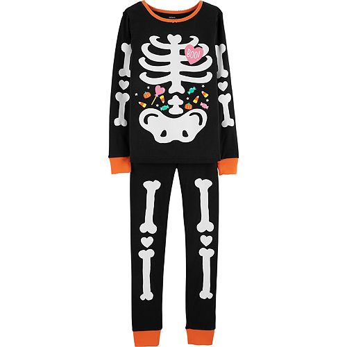 9a6e6d0ad Girls 4-14 Carter s Glow-in-the-Dark Skeleton Top   Bottoms Pajama Set