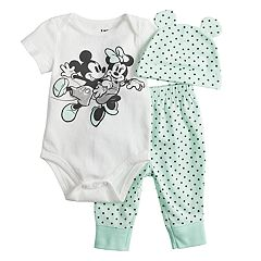 Disney's Minnie & Mickey Mouse Baby Girl Bodysuit, Pants & Hat Set by Jumping Beans®