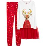 Girls 4-14 Carter's Reindeer & Christmas Lights Top, Bottoms & Tutu Pajama Set