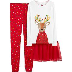 Girls 4-14 Carter's Reindeer & Christmas Lights Top, Bottoms & Tutu Pajama Set