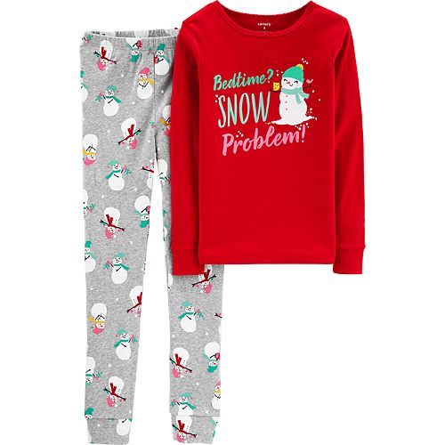 "Girls 4-14 Carter's ""Bedtime? Snow Problem"" Snowman Top & Bottoms Pajama Set"