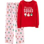 "Girls 4-14 Carter's ""Holiday Squad"" Top & Fleece Bottoms Pajama Set"