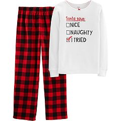 Girls 4-14 Carter's 'Santa Naughty Nice' Christmas Thermal Top & Buffalo Plaid Bottoms Pajama Set