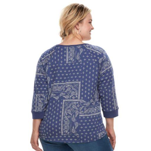 Plus Size SONOMA Goods for Life™ V-Neck Sweatshirt