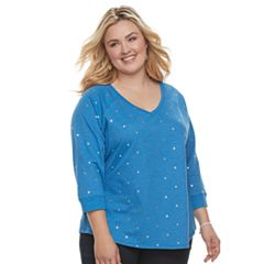 Plus Size SONOMA Goods for Life™ V-Neck Sweatshirt