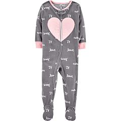 Toddler Girl Carter's 'Love' Heart Microfleece Footed Pajamas
