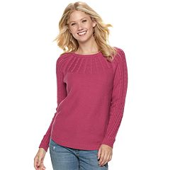 Women's SONOMA Goods for Life™ Cable Knit Yoke Crewneck Sweater
