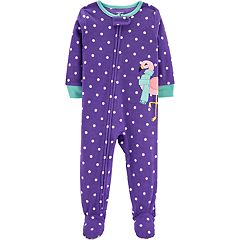 Toddler Girl Carter's Polka-Dot Flamingo Microfleece Footed Pajamas