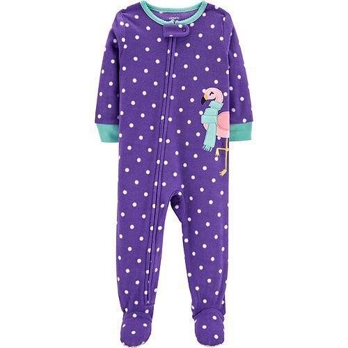 fd8bb0a554b3 Toddler Girl Carter s Polka-Dot Flamingo Microfleece Footed Pajamas