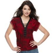 Women's Rock & Republic® Lace-Up French Terry Tee