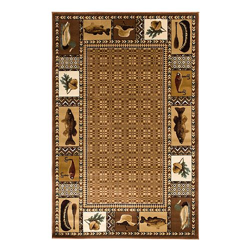 Natco Lodge Okena Framed Rug