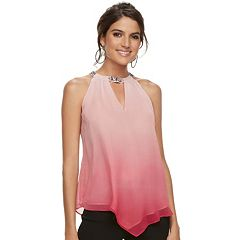 Women's Jennifer Lopez Embellished Chiffon Handkerchief Top