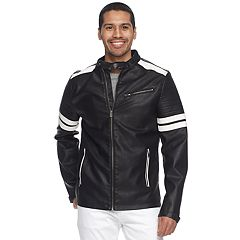 Men's XRAY Striped Faux-Leather Moto Jacket