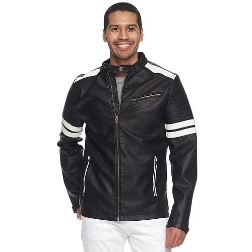 Men's XRAY Striped Faux-Leather Moto Jacket