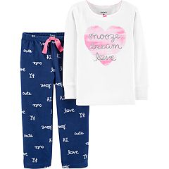 Toddler Girl Carter's 'Snooze Dream Love' Heart Top & Fleece Bottoms Pajama Set