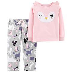 Toddler Girl Carter's Owl Top & Microfleece Bottoms Pajama Set