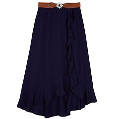 Girls 7-16 IZ Amy Byer Belted Crepon Wrap Skirt