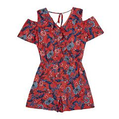 Girls 7-16 IZ Amy Byer Floral Cold Shoulder Romper